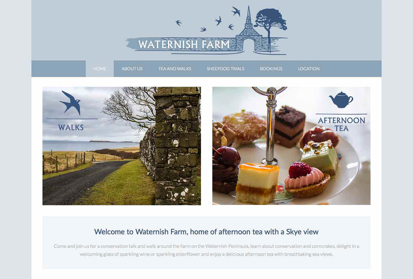 Waternish Farm, Isle of Skye, Skyewebsites, Screenshot
