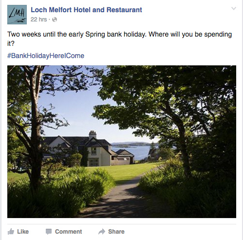 Skye Websites, Digital Marketing, Loch Melfort Hotel Facebook