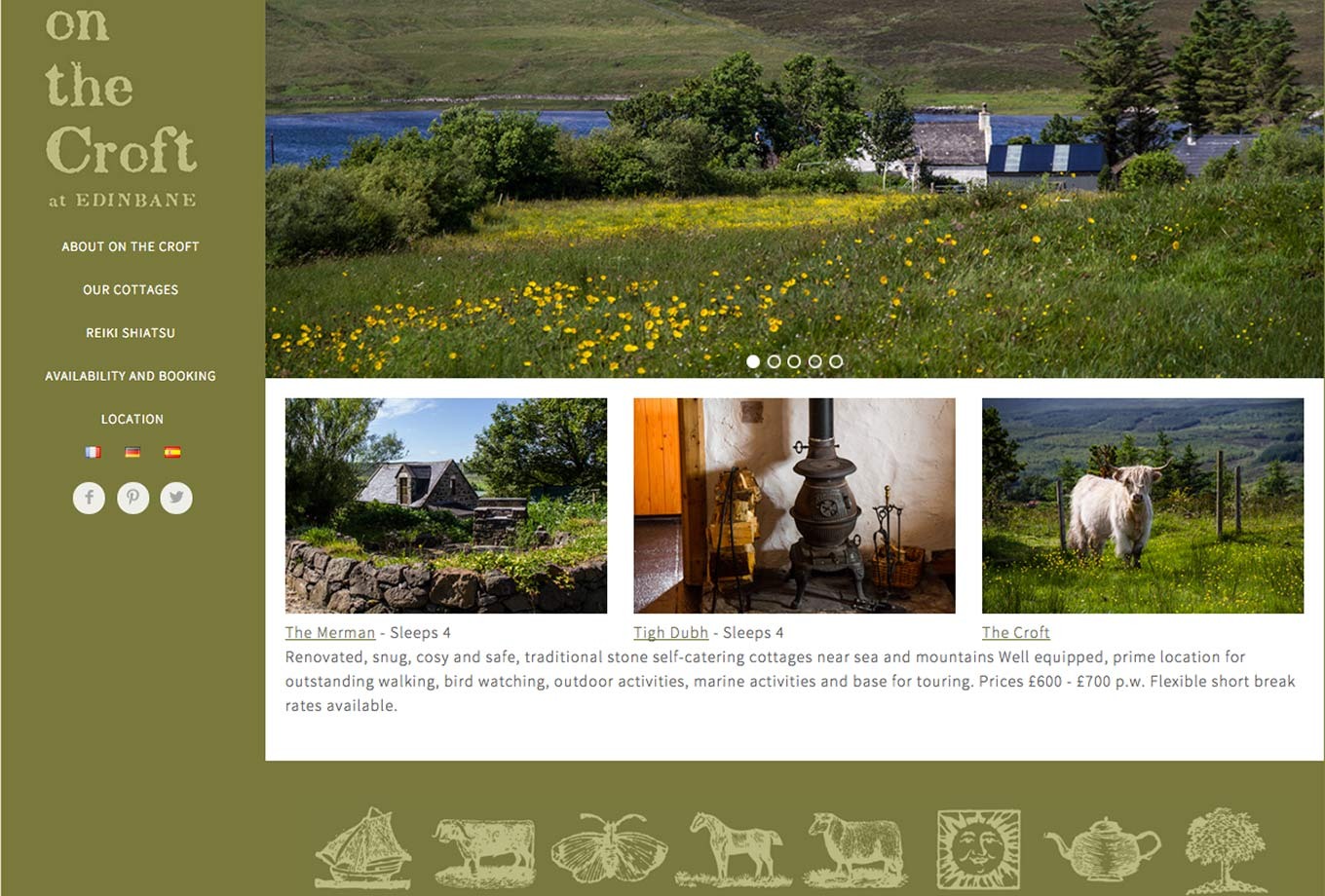 Edinbane self-catering on the croft homepage, Projects, Skyewebsites