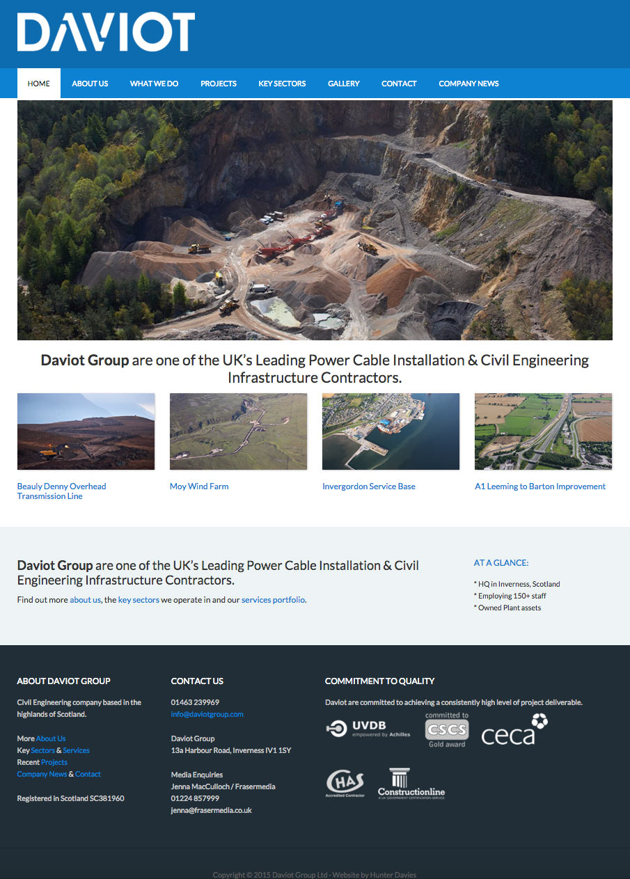 Daviot Group, Website Screenshot