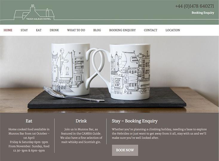 Taigh Aliean hotel, homepage, screenshot