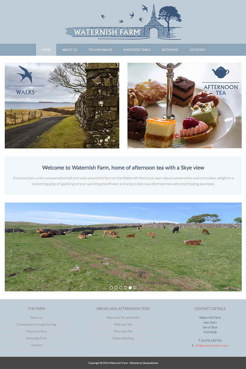Skye Websites, Waternish Farm Homepage , Isle of Skye