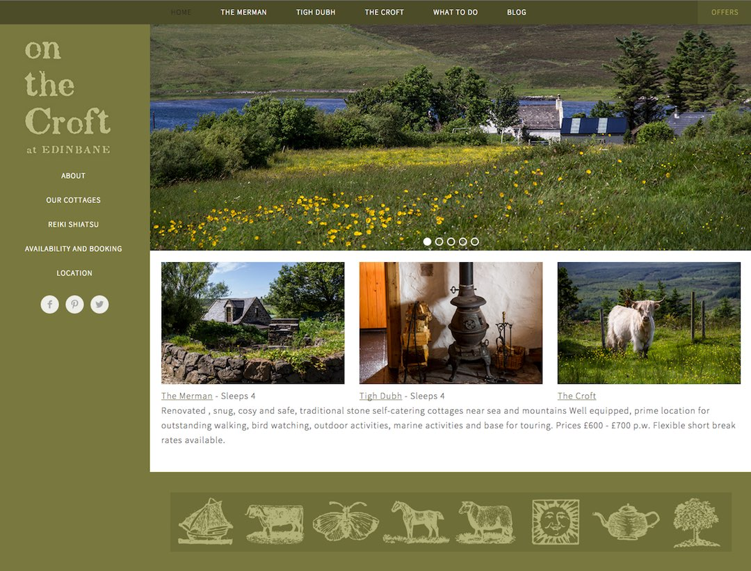 edinbane self-catering on the croft homepage screenshot skyewebsites