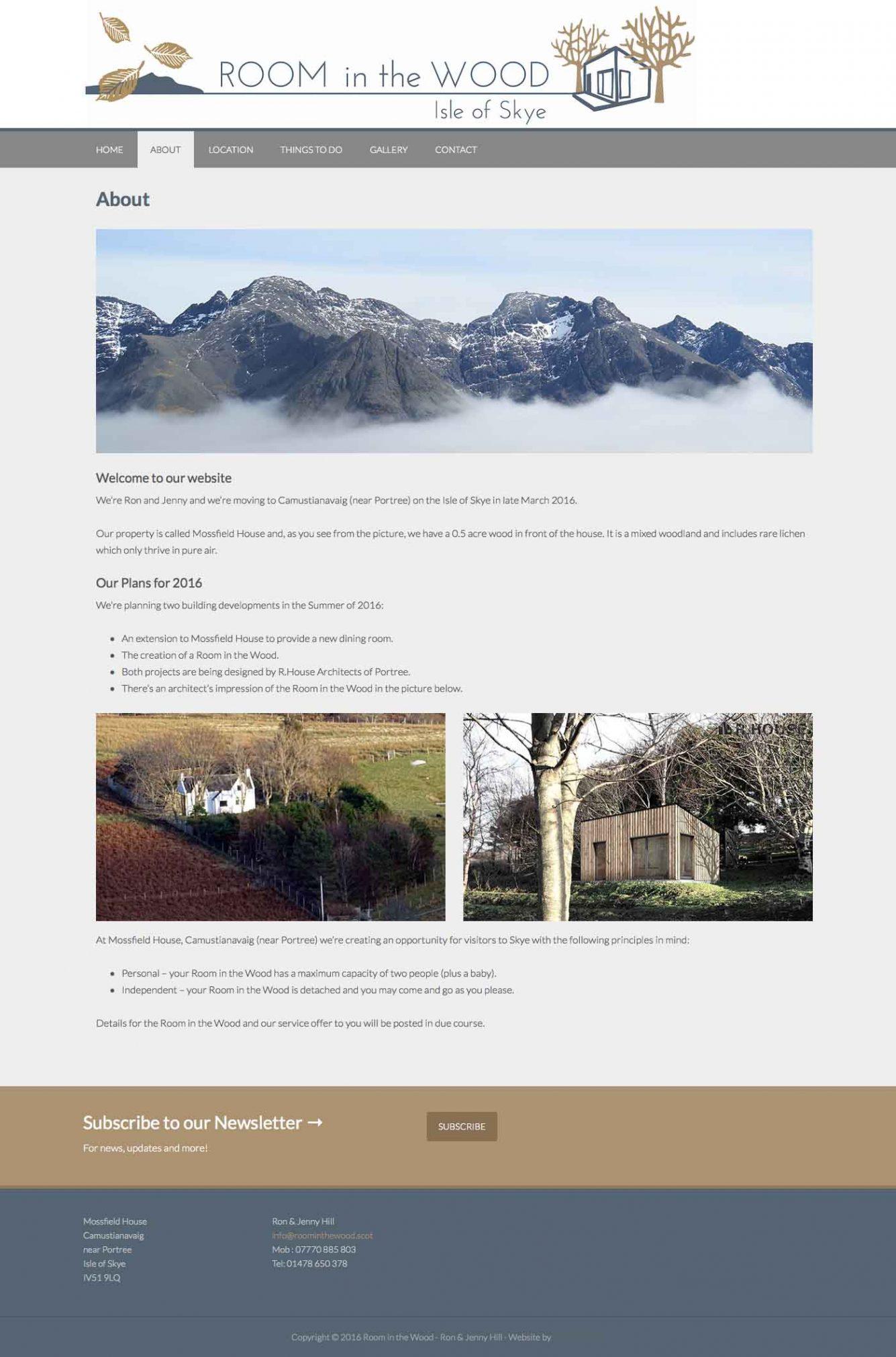 Skye Websites, Room in the Wood, Home
