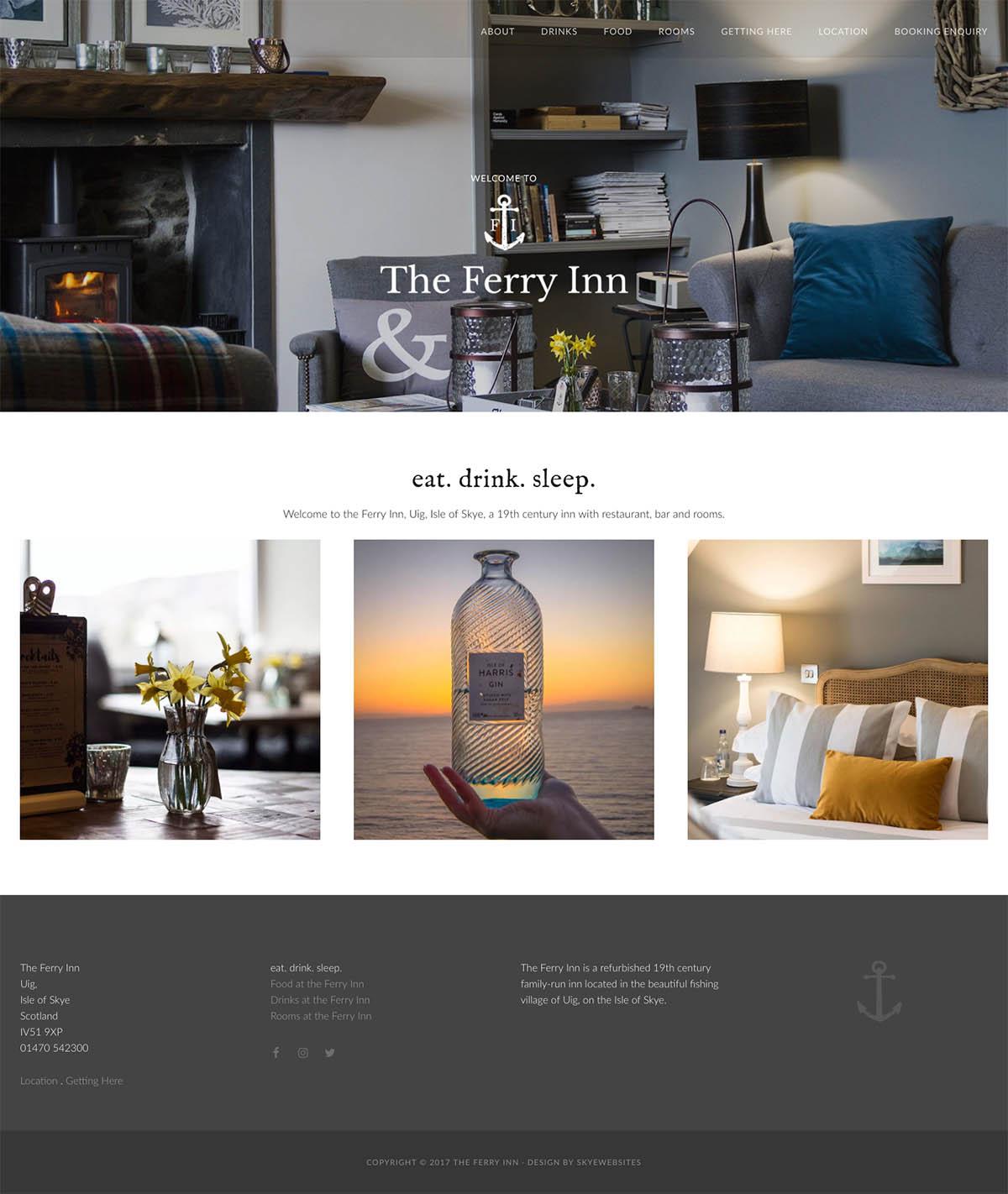 Skyewebsites Ferry Inn homepage