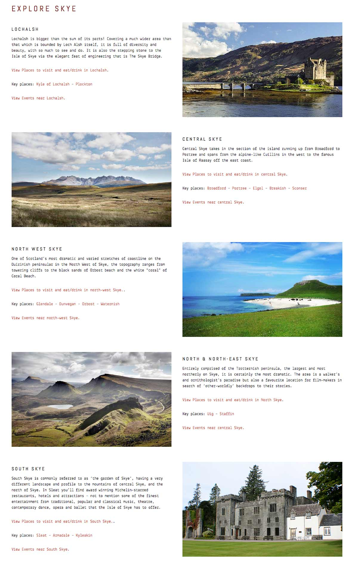 Skye Websites, Whats on Skye, Overview