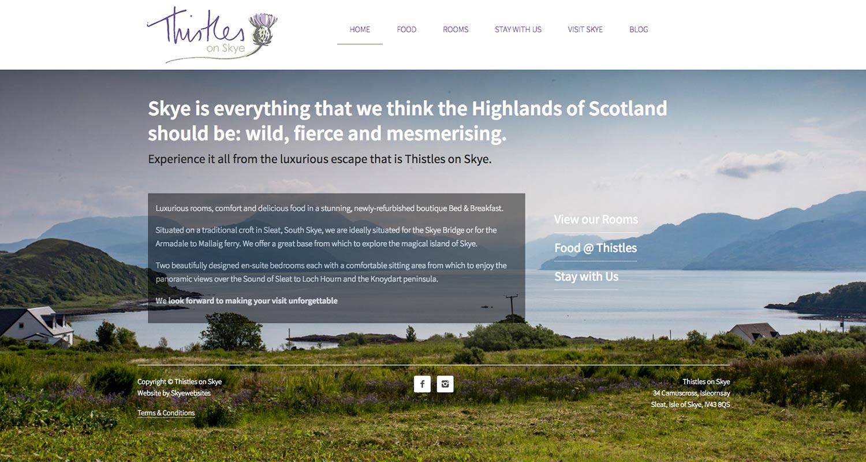 Thistles, homepage, Skyewebsites